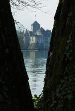 Chateau de Chillon/67941/durch-eine-baumluecke-sieht-man-das Durch eine Baumlücke sieht man das Château de Chillon (16.04.2010)